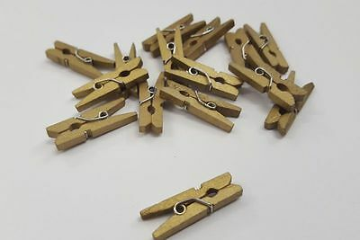 Mini Clothes Pegs Gold x 15 - Wooden Painted Craft Home Decoration - 25mm