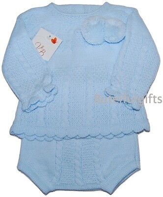Baby's Spanish 2 Piece Knitted Cable & Pom Pom Jumper & Jam Pants 0-12 Month
