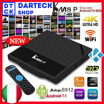 KM8P Android 7.1 TV BOX S912 OctaCore 4K H.265 HDR10 OTA 2/16GB 3D Media Player