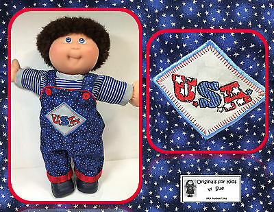 """Cabbage Patch Kid DOLL CLOTHES ONLY/fit 16"""" Boy Patriotic """"USA"""" Overall Outfit"""