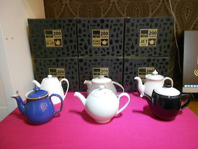 6 x Very Rare Denby Limited Edition Complete Set of Teapots Jet Linen Blue Green