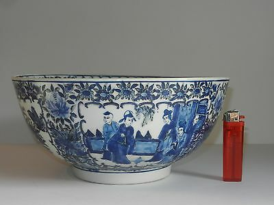 19thC Chinese Punch Bowl Hand Painted Scene and floral design six character mark