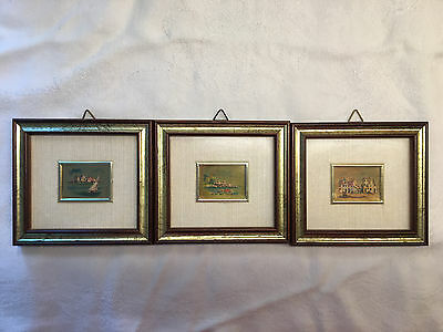 23 Kt Gold Leaf - Set of 3 Miniature Foglia Oro Pictures - Italy(?) (918)