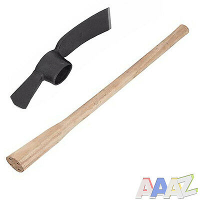 5lb Grubbing Mattock Steel Head + Wooden Handle shaft 90cm 36in