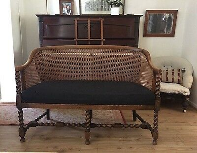 Antique french oak wood frame bergere cane sofa seat settee chair barley twist