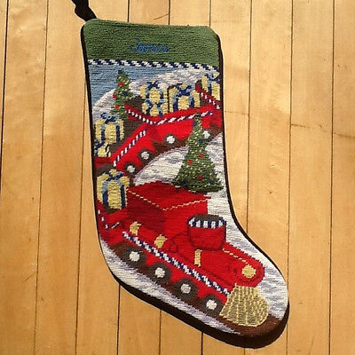 NEW Lands End Train Needlepoint Christmas Stocking Monogrammed James