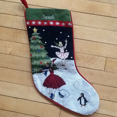 Lands End Ice Skaters Needlepoint Christmas Stocking Monogrammed Sarah NEW