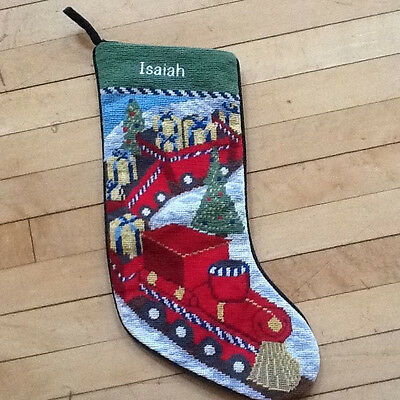 NEW Lands End Train Needlepoint Christmas Stocking Monogrammed Isaiah