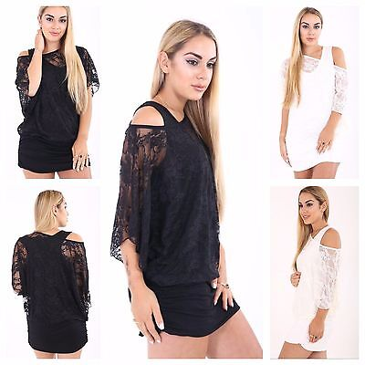 Womens Ladies Floral Lace Off Shoulder 2 In 1 Tunic Batwing Top Plus Size 16-26