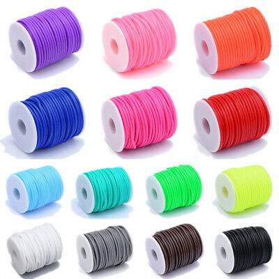 25m/roll PVC Tubular Hollow Rubber Tubing Cord Craft Making Choice of Colors 3mm