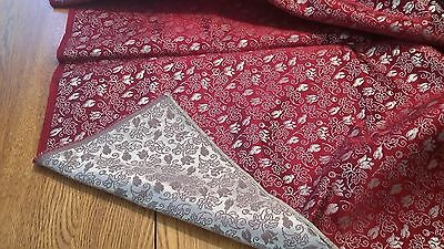 "Vintage Japanese Brocade Fabric Silver Mauve Dark Red 27"" x 119"" (~ 2 1/2 yards)"