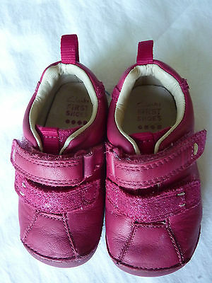 Clarks First Shoes Baby Girl Pink Leather Size 4.5F