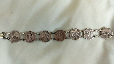 solid silver 1917 french coin bracelet