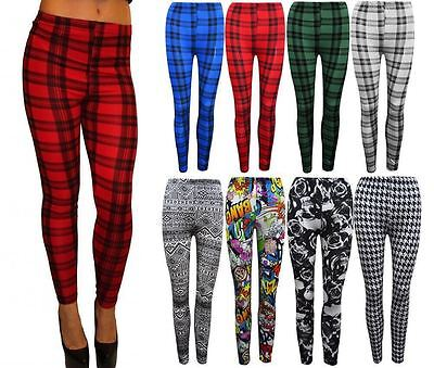 Girls New Stylish Tartan Print New Leggings Check Trousers Womens Sizes 8-26