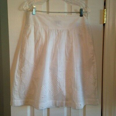 Theory White 100% Cotton Applique Drop Waist Skirt Lined Women's Size 6