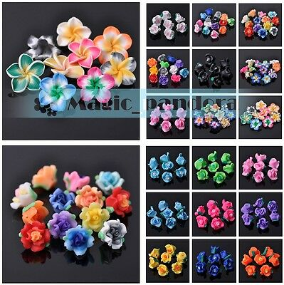 New DIY 50pcs 6~30mm Polymer Clay Flower Loose Spacer Beads Jewelry Making
