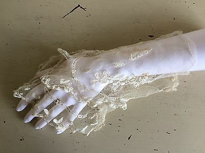 ANTIQUE 1800s CUFF SLEEVE INSERT FRENCH POINT DE GAZE HAND MADE LACE WHITBY GOTH