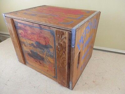Vintage RARE Pepsi Cola Hits the Spot Down on the Beach Wooden Crate Box