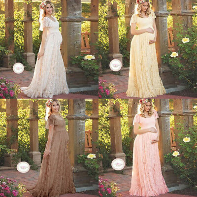 Pregnant Women Lace Flounced Long Maxi Maternity Dress Photo Photography Props