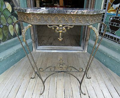 Victorian Brass And Iron Marble Top Console Stand