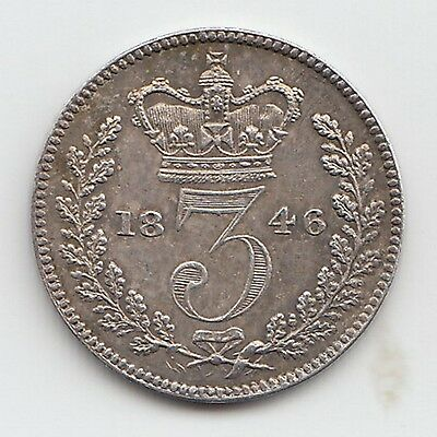 Very Rare Great Britain 1846 Threepence 3d Queen Victoria
