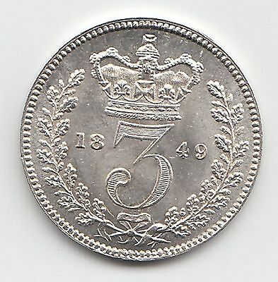 Very Rare Great Britain 1849 Threepence 3d Queen Victoria