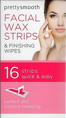 pretty 16 facial wax strips & finishing wipes face hair chin upper lip jaw