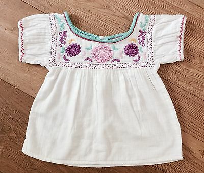 PEEK KIDS Girls Embroidered Peasant top, Size 18-24M.