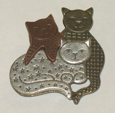 Vintage Three Textured Cats In Multi Metal Colors Euc