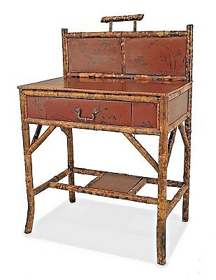 English Victorian (19/20th Cent) Bamboo and Red Lacquered Small Ladies Desk