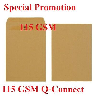 C4/A4 Plain Manilla Self Seal Brown Envelopes 115gsm Q-Connect C4 Envelope