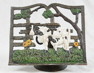 Vintage Cast Iron Cow & Calf Recipe Book Stand Painted Rustic Farm Shabby Decor