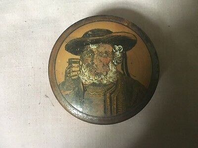 Old Brittany Dinard Faceted Wooden Box Decorated,Bearded Man Holding A Glass