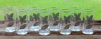 """RARE Set of 8 Vintage Libbey SILVER LEAF Leaves Clear Glasses TUMBLERS 5.75"""""""