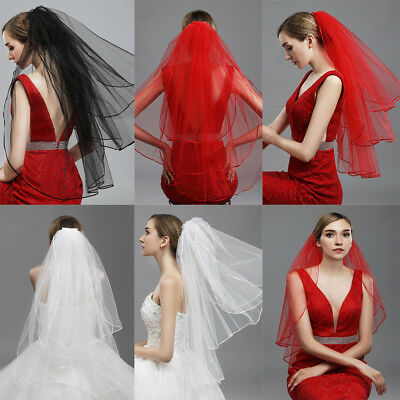 White Black Red 3T Layer Satin Edge Wedding Bridal Veil Formal Church With Comb