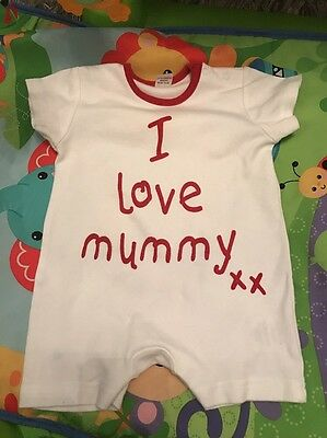 Boys Girls Baby Grow Romper Jumpsuit Outfit Age 0-3 Months I Love Mummy summer