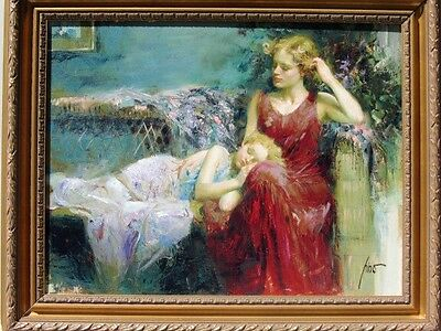 """Pino Daeni Art Titled """"A Mothers Love"""" on canvas framed"""