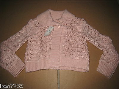 Nwt Baby Gap Girls Pink Ruby Slippers Admirals Club Sweater Cardigan Size 4