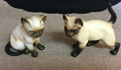 Pair Of Vintage Siamese Cat Figurines Lefton And Norleans