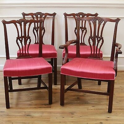 Antique Carved Mahogany Chippendale Style Dining Chairs, Set of 4.