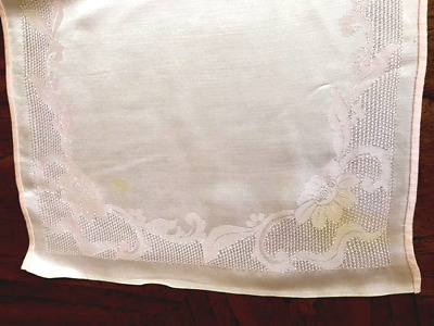 Vintage Set of (8)  Pink Embossed Cloth Placemats and Napkins Rose pattern