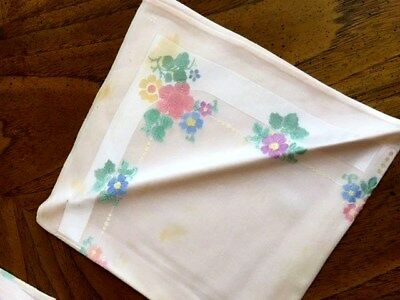 vintage linen placemats and napkins  set of 8 Pink with floral design