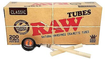 RAW Natural Unrefined King Sz Cigarette Tubes (200 per Box) 1 Box w/ RPD Lasso