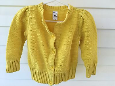OLD NAVY Baby girl 18-24 months Yellow Cotton Cardigan - PLEASE READ - SPOTS