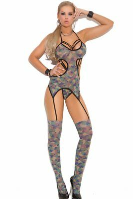 3-Piece Cami Set Camisette Camouflage Garter Thigh-High Stocking Sheer G-String