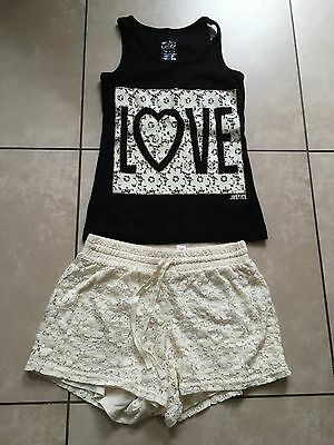 JUSTICE Girls size 14 HEART Love TANK TOP & Crocheted SHORTS size 12 outfit EUC