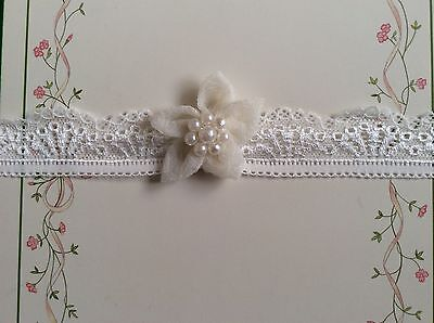 super cute baby girls headband-hairband 6-12 months ivory with pearls