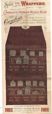 Advt CROWLEY'S Lion Brand Needles~Wrapper Premium for Free Sewing Needles  c1900