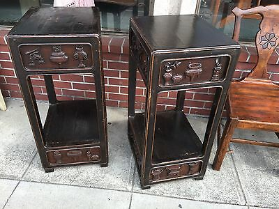 Pair of Antique Chinese Carved Pedestal Tables