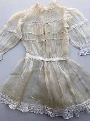 Antique Vintage Handmade Children's Girls Ivory Lace Short Sleeve Dress Painted
